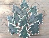 Christmas Tree Salt Dough Set of 12 Ornaments Napkin Rings / Party Favors