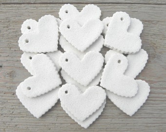 Valentine Wholesale  DIY Ruffled Hearts Supplies Collection of 10 Mini Heart Unfinished Salt Dough Ornaments