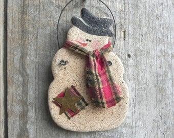 Primitive Snowman Salt Dough Ornament / Xmas Decoration / Party Favor