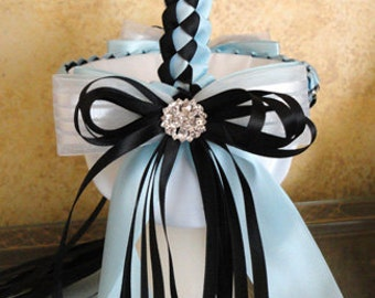 Small Wedding Flower Girl Basket, Black Light Blue and White or Custom Made to your Colors Satin Braid, Bows, Ribbons and Swarovski Crystals