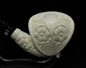 Full Floral Cobra Barrett Hat Meerschaum Pipe Big Bowl by Emin Tobacco Smoking Pipes Hand Made Hand carved from Turkey
