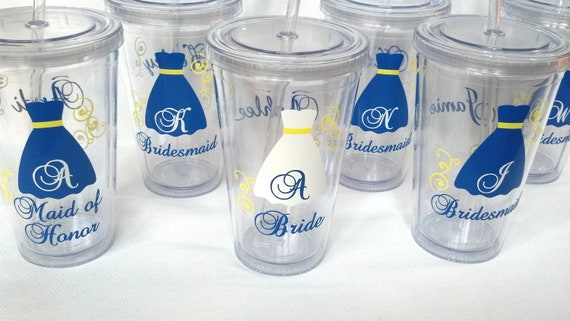 Bride and Bridesmaids Tumblers, 7 wedding party acrylic glasses with lid and straw, flower girl juice cups. Blue, yellow, or you pick colors