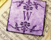 Coaster Monogrammed Purple and Lilac Coasters Set of 4 Decoupaged Coasters Wedding, Sorority, Anniversary or Home Decor Colors