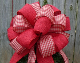 Christmas Tree Topper - Primitive Country Tree Top Bow  in Tomato Red and Tan - Double Sided Bow with Burlap