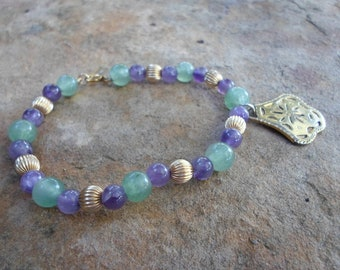 Jade and Amethyst Handmade Bead Bracelet with Gold Charm