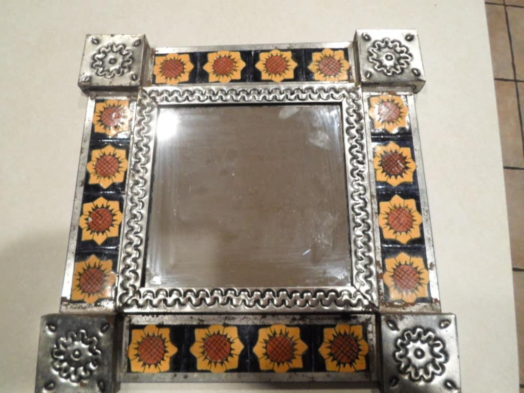 Mexican Sunflower Tile And Tin Vintage Mirror