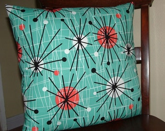ATOMIC Print Square Throw  PILLOW Cover  EAMES Look Mid Century Look Turquoise Print