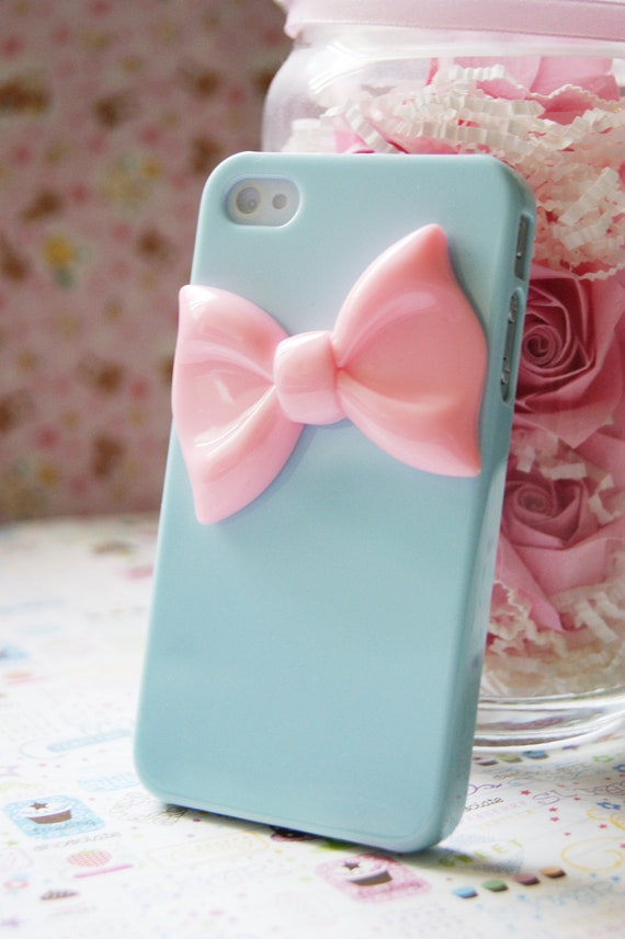Baby Blue Iphone 4 4s Case With Pink Bowtie Elegant Decoden Cell Phone Case