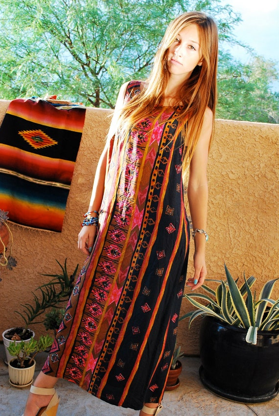 80's Aztec Ethnic South Western Print Long Maxi Summer Tank Dress Small