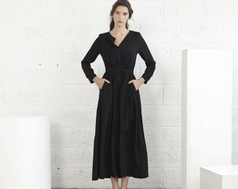SALE!Winter Maxi dress - Black