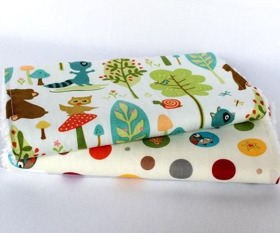 SALE Baby Burp Cloth Set, Chenille Burp Cloths, Woodland Animals