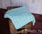 Aqua Blue crochet Mini pom pom blanket Basket stuffer, photography prop