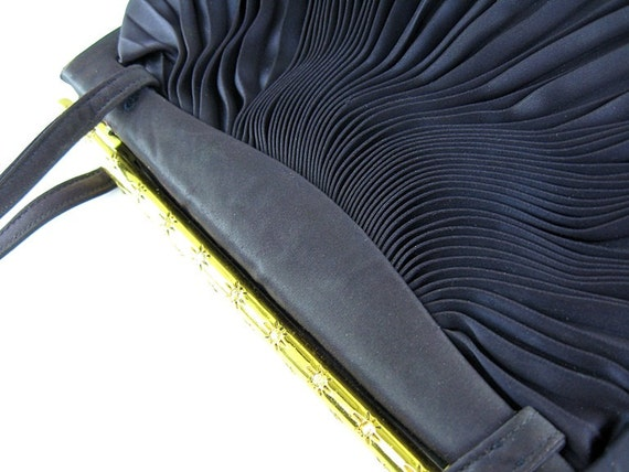 Koret Handbag for  Bergdorf Goodman Vintage 1950s Designer Purse Evening Bag Navy Pleated Satin Rhinestones