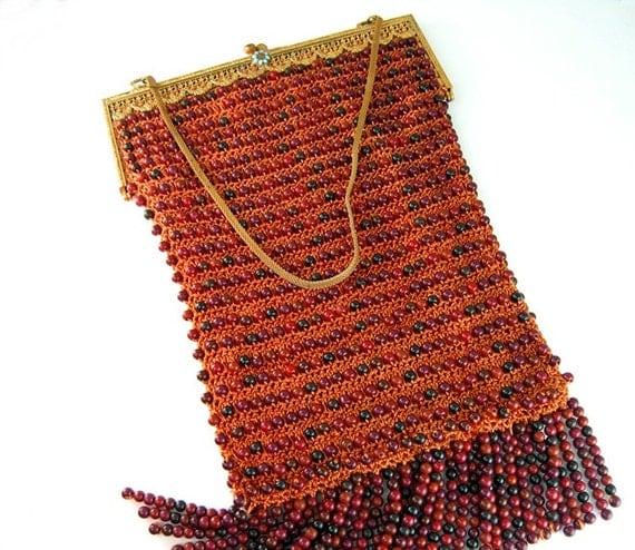 RESERVED FOR K // Antique Edwardian Purse Gold Gilt Frame Turquoise Enamel Peach Crochet Wood Beads Fringe 1900s