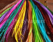 You Pick 2 Feather Hair Extensions, Grizzly Colorful XL Long Hair Feathers - Custom Rooster Feather Extensions
