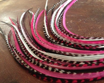 """11-12"""" Feather Extensions Pink, Fuchsia, Magenta Grizzly 6 Hair Feathers Bonded Bundle XL Feather Hair Extension With Threader"""