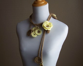 Crochet Lariat Yellow Pansy Flower Lariat with Medallions Yellow and Light Brown