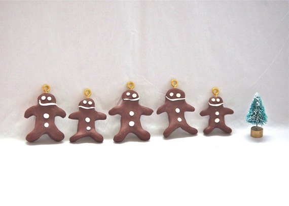 Set of 5 chocolate gingerbread men ornaments christmas tree ornament holiday decor gift tags sculptures handmade clay cookies dark brown