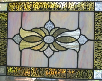 """Stained Glass Panel original design with kiln-fired border 22""""x15 5/8"""""""