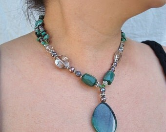 """Chunky Green Multistrand African Agate and Black Peacock Pearls with Smoky Quartz and Amazonite, """"Peacock Necklace"""""""