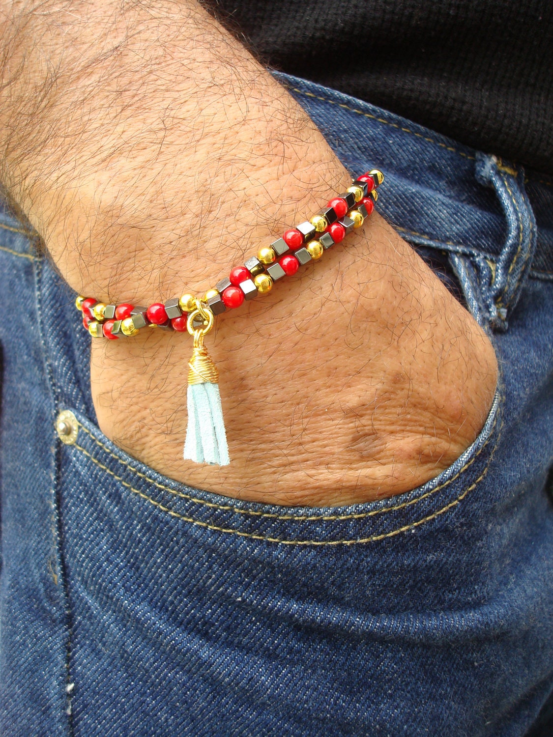 Mens Spiritual Protection Bracelet with Leather by