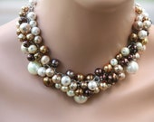 Brown cluster pearl necklace is perfect for bridesmaids-wedding jewelry