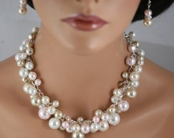 Clustered pearl necklace in champagne pearls and crystals, pink, white and ivory - Wedding jewelry, bridesmaids jewelry-4