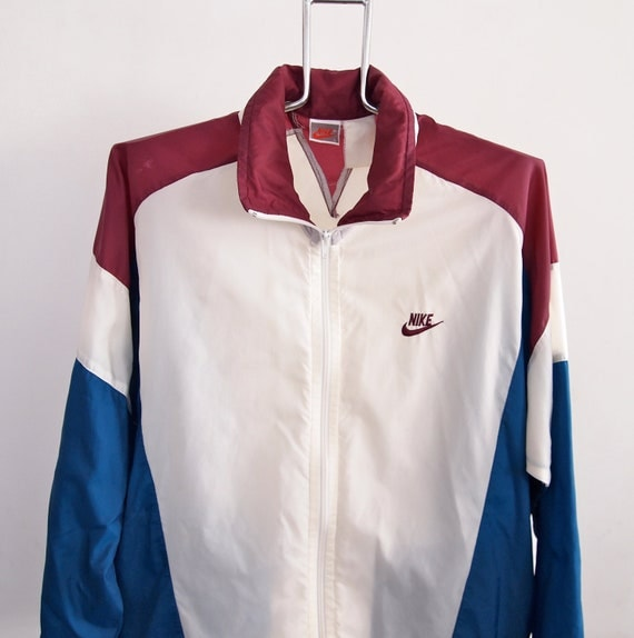 Vintage Nike Windbreaker Jacket Large Maroon Blue White With