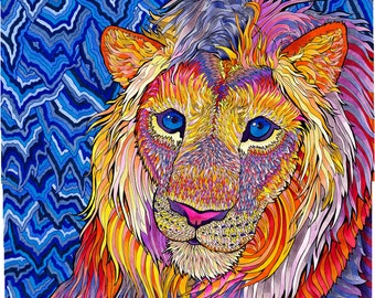 Kaleidoscopic King (Psychedelic Lion Trippy Drawing in Copic Marker Purples, Violets, Yellows and Oranges)