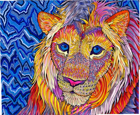 Kaleidoscopic King Psychedelic Rainbow Copic Marker Lion