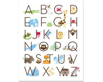 Modern Animal Alphabet Poster - Zoo Friends Ocean Blue - Gallery Wrapped Canvas