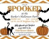 Customized Halloween Party Invitation with Orange Chevron Stripes