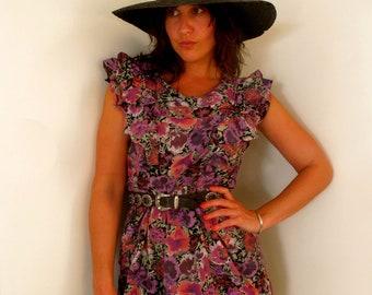 Flower Bloom Purple Frill Dress