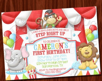 Monkey Big Top Circus themed invitation