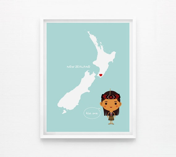 Personalized Children Decor Custom New Zealand Map with adorable children in traditional costumes Art print, Nursery Art, Classroom Decor
