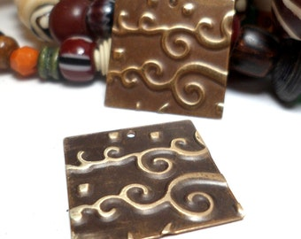 Handmade Jewelry Components Embossed Black Brass Squares with Cloud or Wave design 20mm 2 Pieces