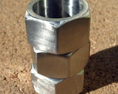Hex nut ring, stainless steel band, chunky, industrial, size 8, geometric ring
