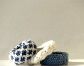 Hand knit bangle bracelets, textile jewelry set, denim blue wrist cuff bracelet - zolayka