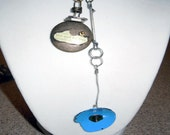 Industrial/Steampunk  style Live & Let Live Locket with blue flower