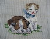 Vintage Bulldog & White Cat Needlepoint Canvas Partially Complete Hawatha Heirloom