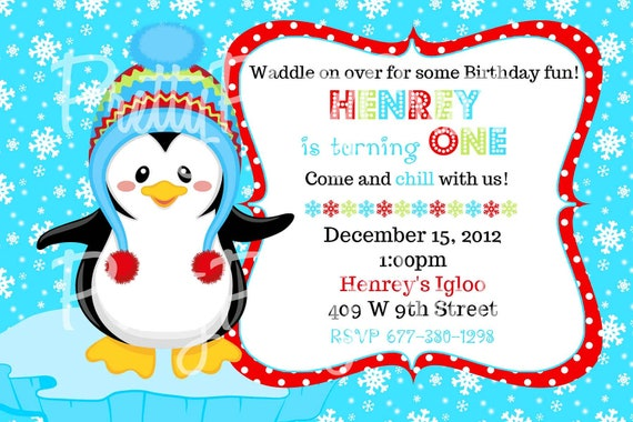 Boy PENGUIN invitation - with or without photo - 4 to choose - U PRINT