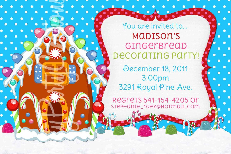 Gingerbread House Invitation Printable Christmas Party – Gingerbread Party Invitations