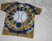 Tie dye shirt - youth XS, baseball in navy and vegas gold