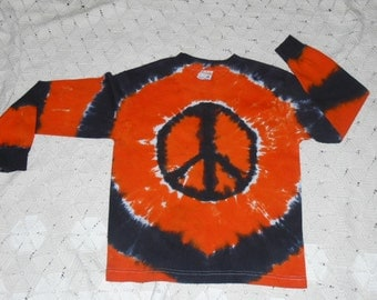 SALE!!  Tie dye shirt, small youth, long sleeved orange and black peace-  Ready to ship