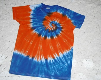 tie dye shirt, small women's, orange and blue mega spiral- Available in all sizes and in unisex style, too