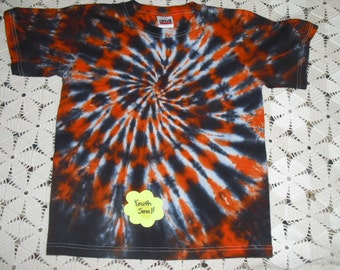 Tie dye shirt,  youth small black and orange checkerboard, INSTANT HALLOWEEN COSTUME, cheetah, leopard, cat- 250