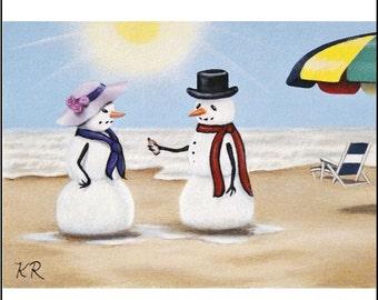 ACEO ART PRINT snowmen on beach