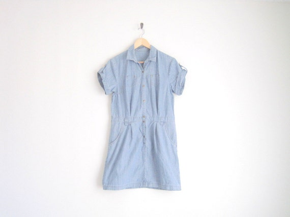 vintage simple chambray dress with rolled up sleeves / shirt dress with pockets