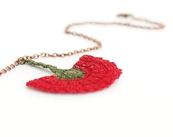 Necklace-Red Crochet Flower Pendant,Carnation Necklace,Pendant Necklace,Fiber Art Jewelry,Ottoman Tile