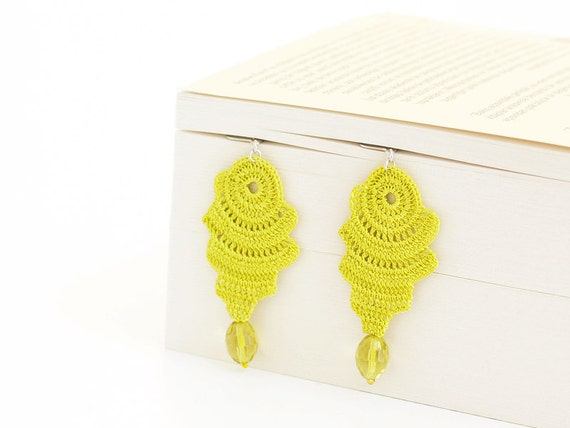 Neon Crochet Lace Earrings with Crystal Lime Boho Chic Lightweight Strip Abstract Minimalist Freeform Geometric Doily